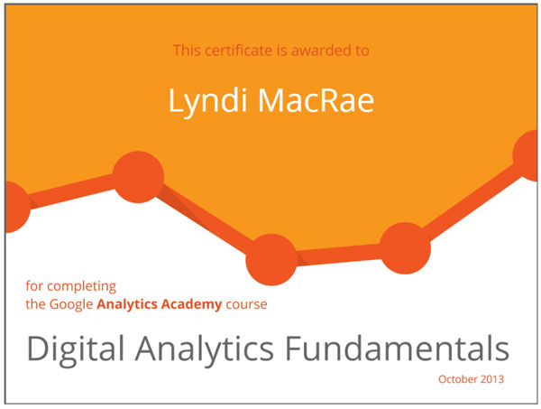 Google Digital Analytics Fundamentals Certificate - Lyndi MacRae